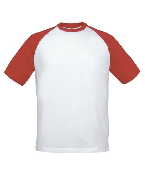 B&C Baseball White-Red