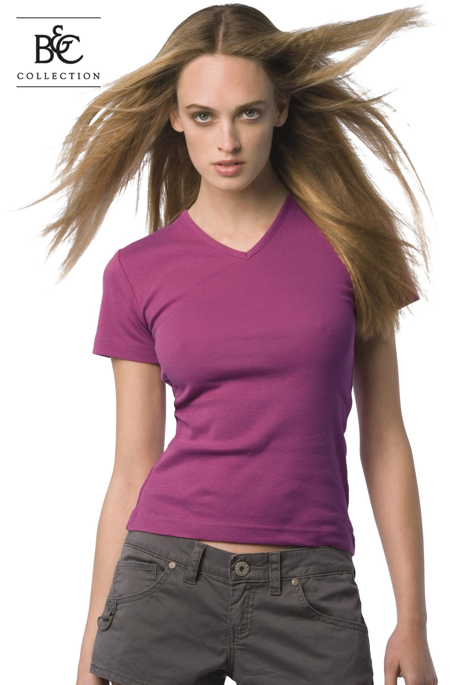 B&C Watch Women Dames T-shirt met v-hals en korte mouwen