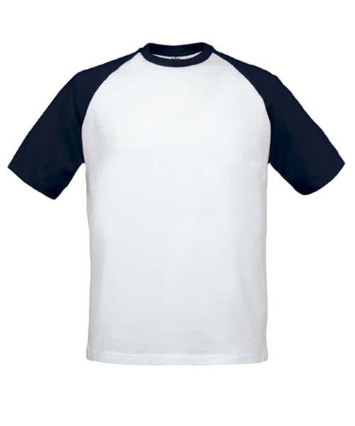 B&C Baseball White-Navy