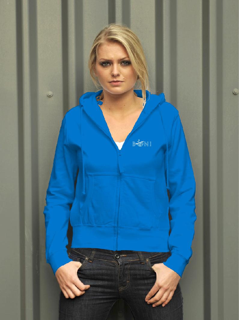 College dames hoodie met volledige rits met logo op 2 zijden