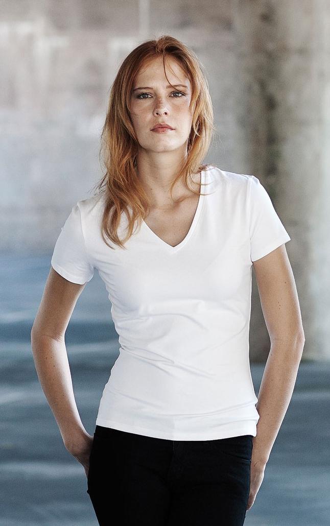 Kariban Electra Dames T-shirt met v-hals en korte mouwen