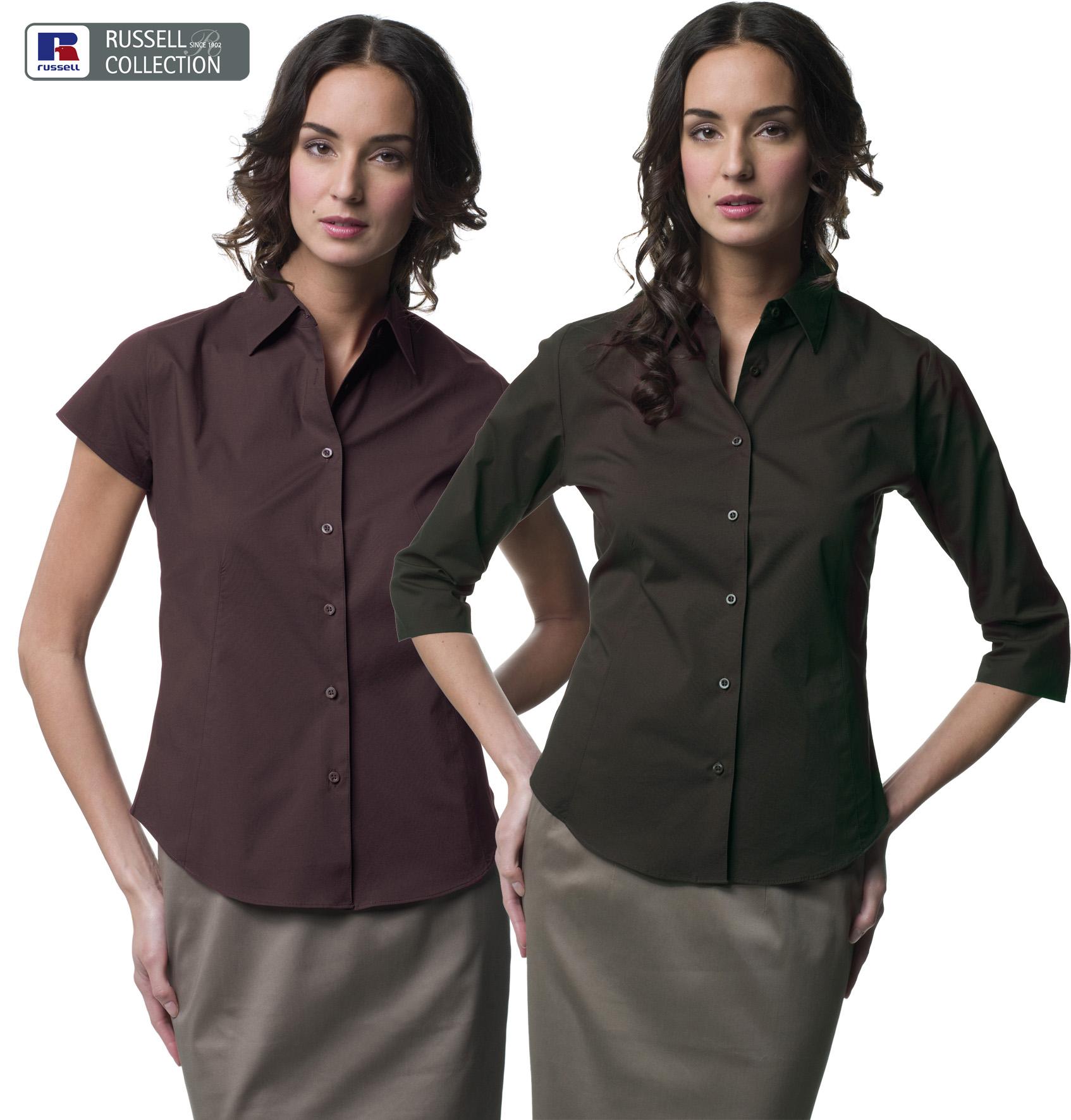 Ladies Fitted shirt met korte of lange mouw