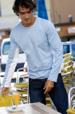 Kariban Tiger LS - Tweekleurige T-shirt met lange mouwen
