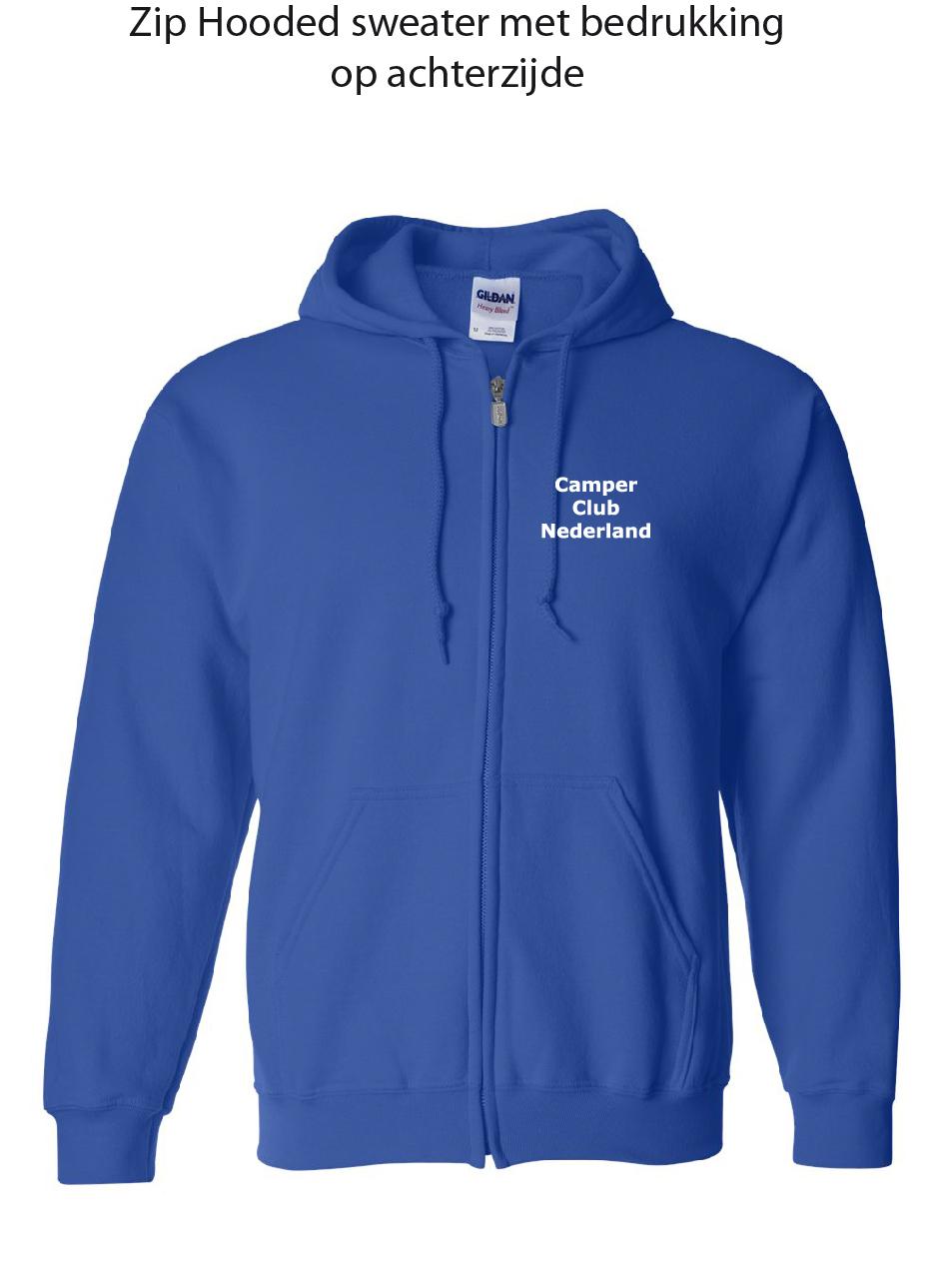 Zip Hooded Sweater met bedrukking linkerborst