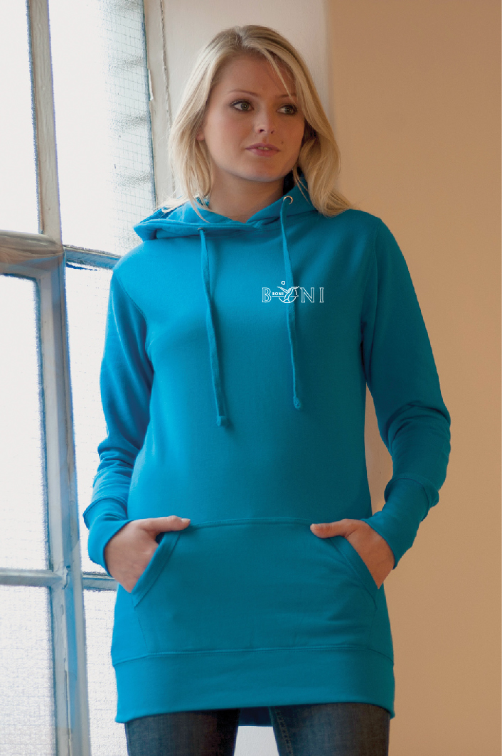 Girlie Longline Hooded sweater met logo op 2 zijden