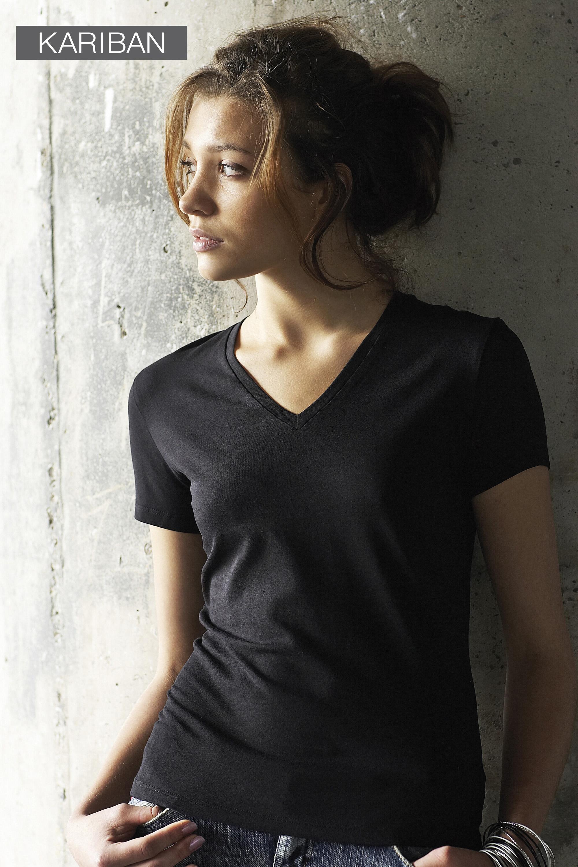 Dames T-shirt met v-hals en korte mouwen