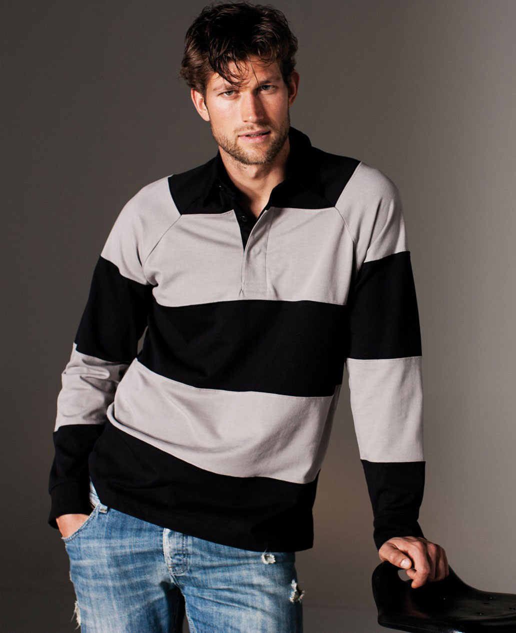 Kariban Striped Rugby Polo